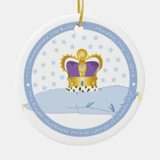 Prince George of Cambridge Pillow and Crown Christmas Ornament