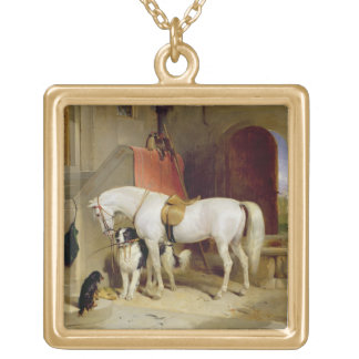 Prince George's Favourites (oil on canvas) Square Pendant Necklace