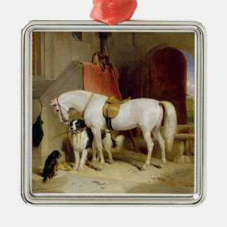 Prince George's Favourites (oil on canvas) Silver-Colored Square Decoration