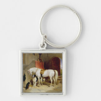 Prince George's Favourites (oil on canvas) Silver-Colored Square Key Ring