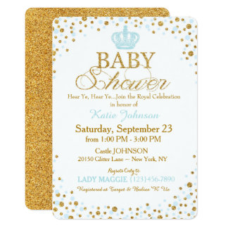 Prince Gold Glitter Sprinkle Baby Shower Card