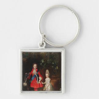 Prince James Francis Edward Stuart Silver-Colored Square Key Ring