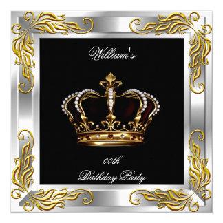 Prince King Men's Black Silver Birthday Party 13 Cm X 13 Cm Square Invitation Card