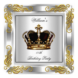 Prince King Men's Crown Silver Birthday Party 13 Cm X 13 Cm Square Invitation Card