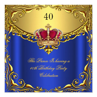 Prince King Red Gold Royal Blue Crown Birthday 5.25x5.25 Square Paper Invitation Card