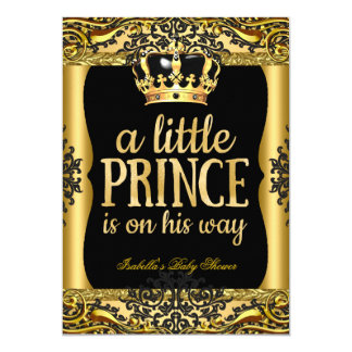 Prince on his way Baby Shower Gold Black 2 13 Cm X 18 Cm Invitation Card