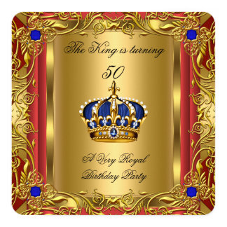 Prince or King Red Gold Royal Blue Crown Birthday 13 Cm X 13 Cm Square Invitation Card