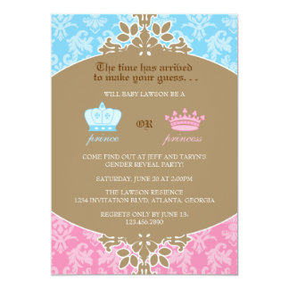 Prince or Princess Damask Gender Reveal Party 13 Cm X 18 Cm Invitation Card