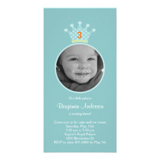 Prince Photo Birthday Party Invitation Customized Photo Card
