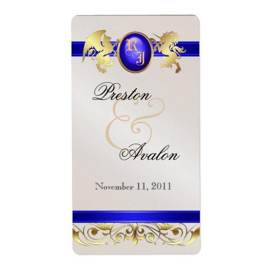 Prince & Princess Blue Jewel Wine Wedding Label
