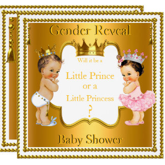 Prince Princess Gender Reveal Baby Shower Brunette Card