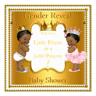 Prince Princess Gender Reveal Baby Shower Ethnic Card
