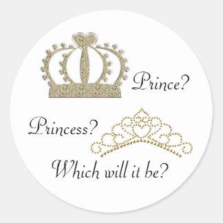 Prince Princess Gender Reveal Stickers