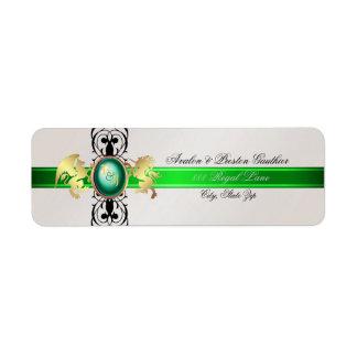 Prince & Princess Green Champange Address Labels