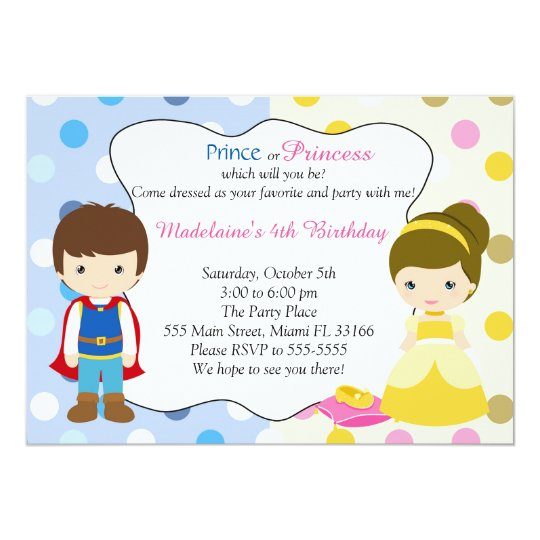 Prince Princess Invitation Kids Birhday Party
