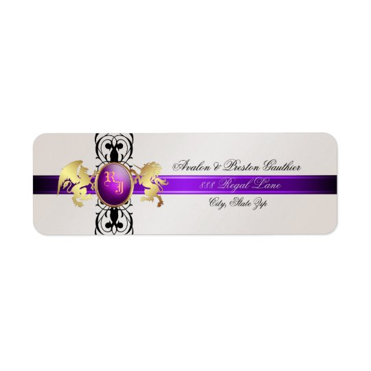 Prince & Princess Purple Champange Address Labels