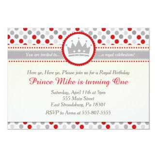 Prince Red Silver Grey Boy Birthday Party Invite