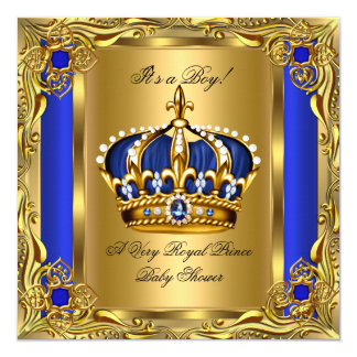 Prince Royal Blue Baby Shower Regal Gold Boy Card