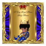 Prince Royal Blue Baby Shower Regal Red Gold Boy 5 Personalised Invitation