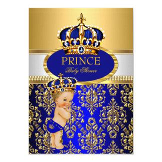 Prince Royal Blue Crown Baby Shower Blonde Boy 13 Cm X 18 Cm Invitation Card