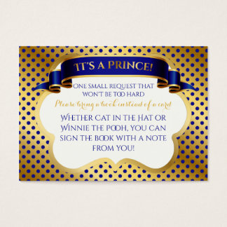 Prince Royal Blue Gold Crown Book Request Business Card