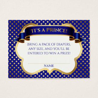 Prince Royal Blue Gold Crown Diaper Raffle Business Card