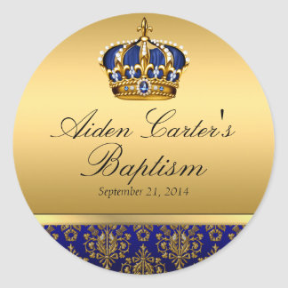 Prince Royal Blue Regal Crown Baptism Sticker