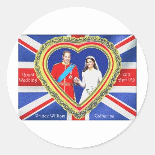 Prince William and Catherine Royal Wedding Round Stickers