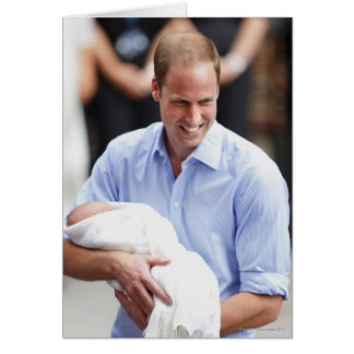 Prince William Holding Newborn Son 2 Card