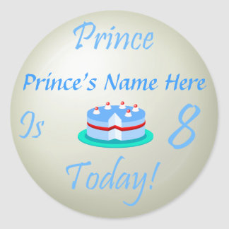 Prince (Your Name) is Eight Today Round Sticker