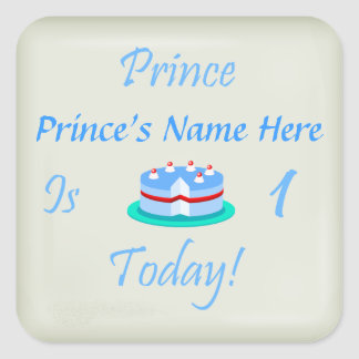 Prince (Your Name) is One Today Square Sticker