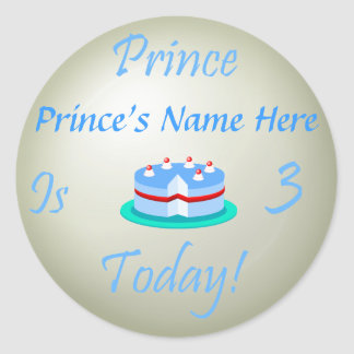 Prince (Your Name) is Three Today Classic Round Sticker