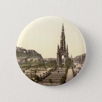 Princes Street, the Castle, and Scott Monument 6 Cm Round Badge