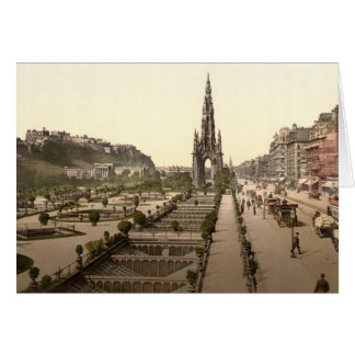 Princes Street, the Castle, and Scott Monument Card