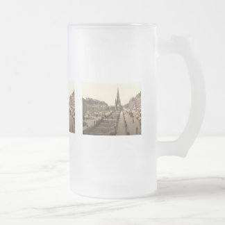 Princes Street, the Castle, and Scott Monument Frosted Glass Beer Mug