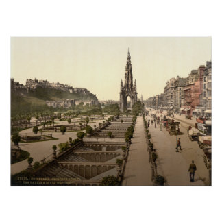 Princes Street, the Castle, and Scott Monument Poster