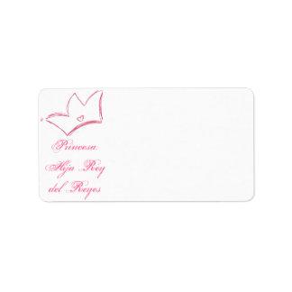 Princesa: Hija del Rey de Reyes Address Label