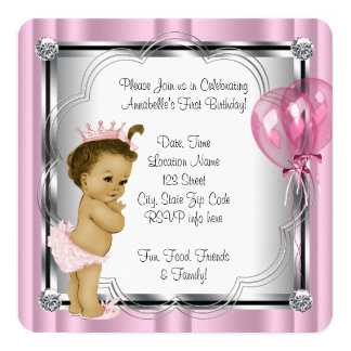 "Princess 1st Birthday Party 5.25"" Square Invitation Card"