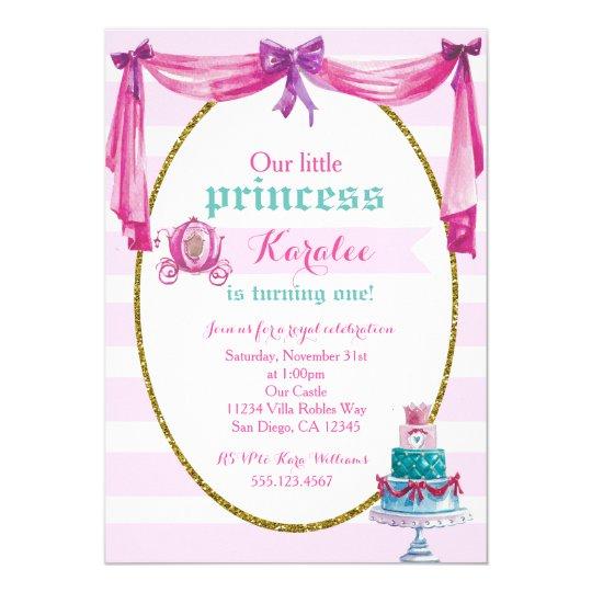 Princess 1st Birthday Party Invitation