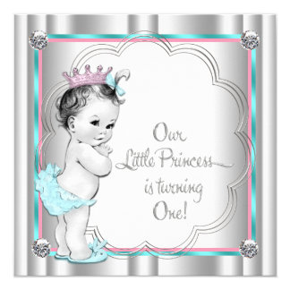 Princess 1st Birthday Party Custom Invitation Cards