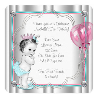 "Princess 1st Birthday Party 5.25"" Square Invitation Card"