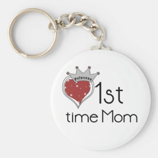 Princess 1st Time Mom - Customized Basic Round Button Key Ring