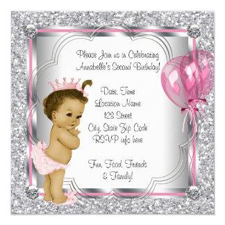 "Princess 2nd Birthday Party 5.25"" Square Invitation Card"
