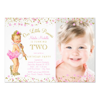 Princess 2nd Birthday Pink Gold Photo Invitation