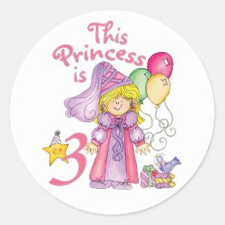 Princess 3rd Birthday Classic Round Sticker