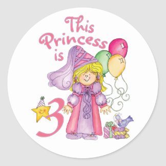 Princess 3rd Birthday Round Sticker
