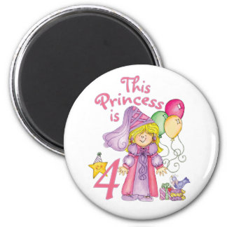 Princess 4th Birthday 6 Cm Round Magnet