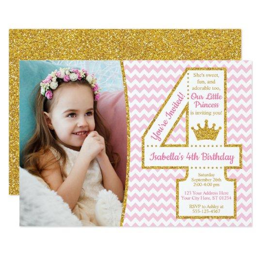 Princess 4th Birthday Invitation | Pink and Gold