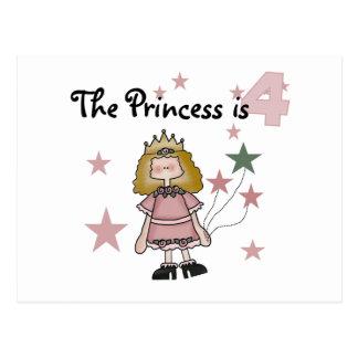Princess 4th Birthday Tshirts and Gifts Postcard