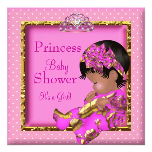 Princess African American Baby Shower Pink Custom Invitations